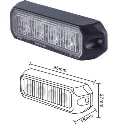 BALED4SLA SLIM LINE 4 LED PROGRAMMABLE AMBER DIRECTIONAL WARNING LAMP
