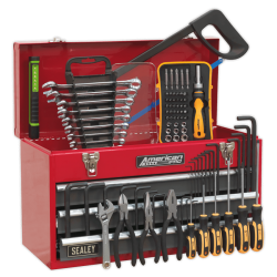 AP9243BBCOMBO Portable Tool Chest 3 Drawer with Ball Bearing Slides – Red/Grey & 93pc Tool Kit
