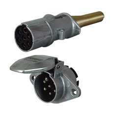 7 Pin Alloy Socket and Plug for 24V Trailers - ISO 1185(24N)
